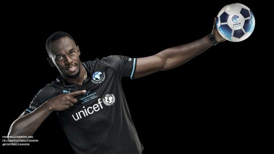 Team Usain Bolt Soccer Aid 2018 PUMA Football Kit, Soccer Jersey, Shirt