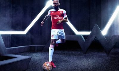 Arsenal FC 2018 2019 PUMA Home Football Kit, Soccer Jersey, Shirt, Maillot, Camiseta, Camisa, Trikot, Tenue, Equipacion