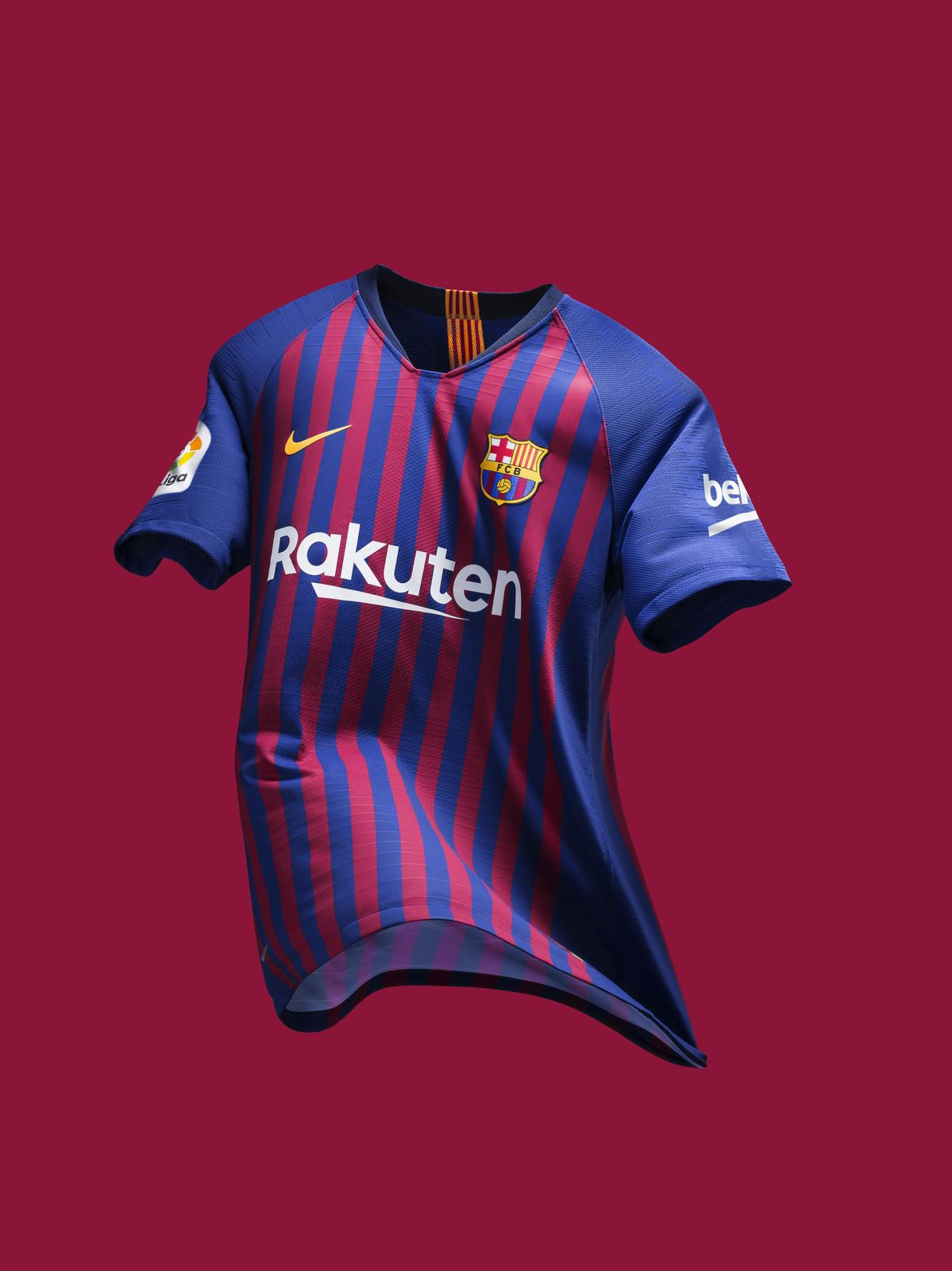 7432fcd6f The the 2018 19 Blaugrana home jersey is inspired by Camp Nou s uniting  force against the city s 10 districts  Les Corts