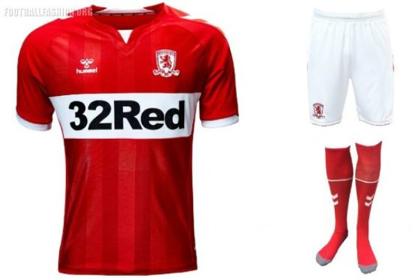 Middlesbrough FC 2018 2019 Hummel Home and Away Football Kit, Soccer Jersey, Shirt