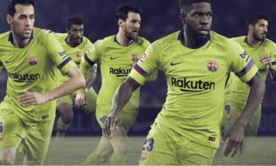 FC Barcelona 2018 2019 Nike Yellow Away Football Kit, Soccer Jersey, Shirt, Camiseta, Equipacion, Camisa, Maillot, Trikot, Tenue