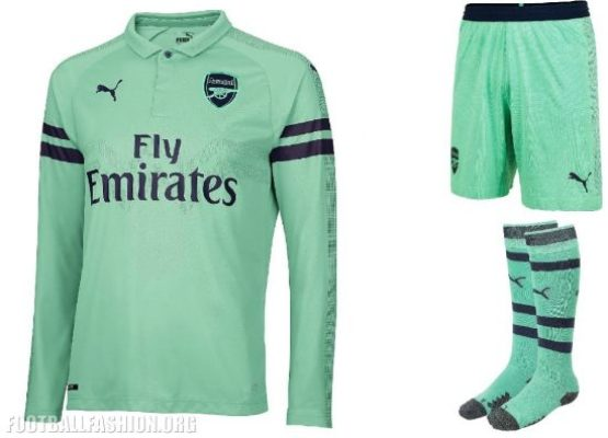 Arsenal FC 2018 2019 PUMA Green Third Football Kit, Soccer Jersey, Shirt, Maillot, Camiseta, Camisa, Trikot, Tenue, Equipacion