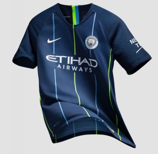 Manchester City FC 2018 2019 Dark Blue Nike Away Football Kit, Shirt, Soccer Jersey, Maillot, Camiseta, Camisa, Trikot, Tenue
