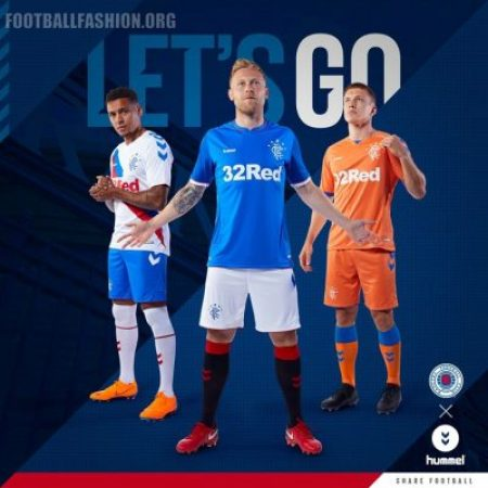 Rangers FC 2018 2019 Hummel Home, Away and Third Football Kit, Soccer Jersey, Shirt