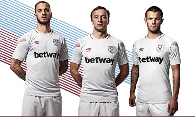 West Ham United 2018 2019 Umbro Third Football Kit, Soccer Jersey, Shirt, Camiseta, Camisa, Maillot, Trikot