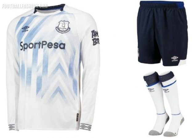 Everton FC 2018 2019 Umbro White Third Football Kit, Soccer Jersey, Shirt, Camiseta, Camisa, Trikot, Maillot