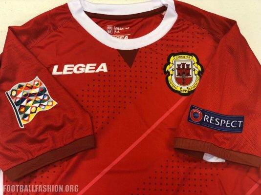 Gibraltar 2018 2019 Legea Home and Away Football Kit. Soccer Jersey, Shirt