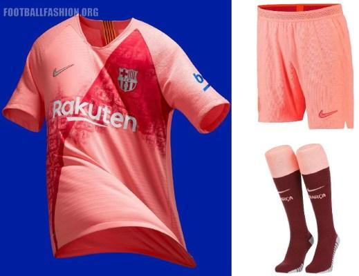 FC Barcelona 2018 2019 Nike Peach Third Football Kit, Soccer Jersey, Shirt, Camiseta Tercera, Equipacion, Camisa, Maillot, Trikot, Tenue