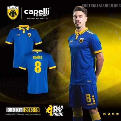 AEK FC 2018 2019 Capelli Home, Away and Third Football Kit, Soccer Jersey, Shirt, ΑΓΩΝΙΣΤΙΚΗ ΦΑΝΕΛΑ