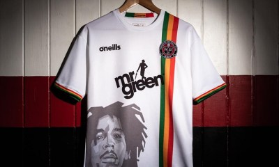 Bohemians FC x Bob Marley 2019 Away O'Neills Football Kit, Soccer Jersey, Shirt