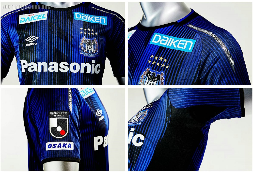 be5afd71e The Gamba Osaka 2019 Umbro home kit is in the team s customary blue and  black. The alternate uniform also sticks with tradition by using a  predominantly ...