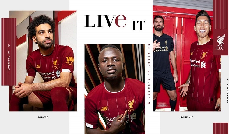 Liverpool FC 2019 2020 Red New Balance Home Football Kit, Soccer Jersey, Shirt, Camiseta, Camisa, Maillot, Trikot