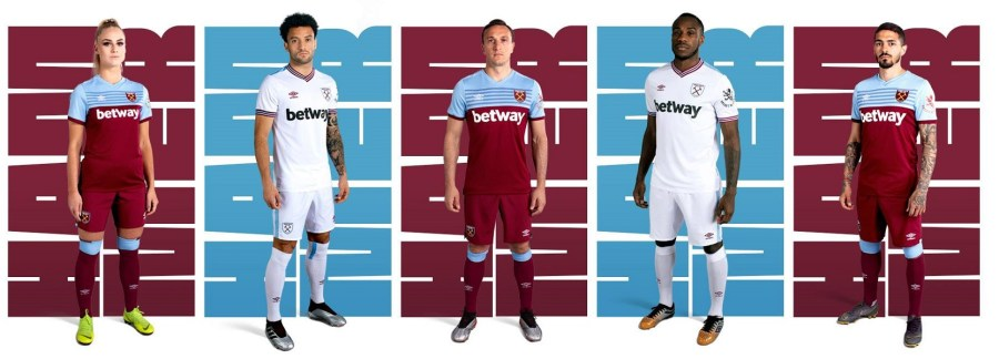 West Ham United 2019 2020 Umbro Home and Away Football Kit, Soccer Jersey, Shirt, Maillot, Trikot, Camisa, Camiseta