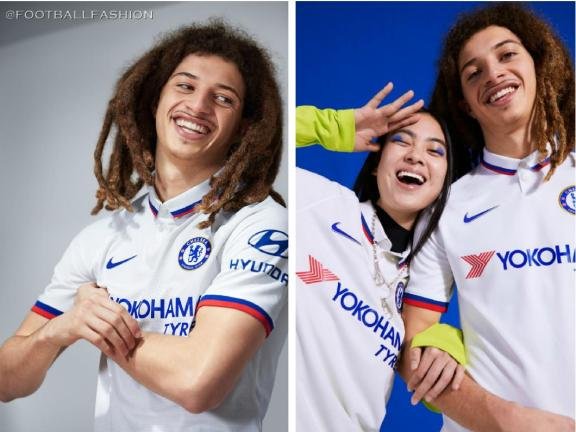 Chelsea FC 2019 2020 Nike White Away Football Kit, Soccer Jersey, Shirt, Camiseta de Futbol, Camisa, Maillot, Trikot, Tenue, Dres