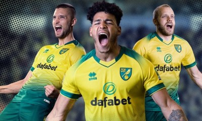Norwich City 2019/20 Erreà Home Football Kit, Soccer Jersey, Shirt