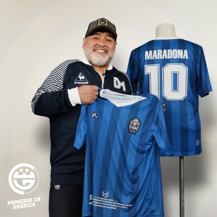 Gimnasia le coq sportif Maradona 59th Birthday DM59 Football Kit, Soccer Jersey, Shirt, Camiseta de Futbol