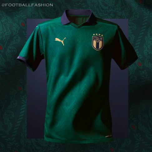 Italy 2019 2020 PUMA Green Third Football Kit, Shirt, Soccer Jersey, Italia, Camiseta, Camisa, Trikot, Maillot, Gara, Maglia