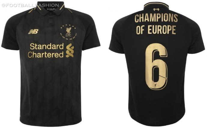 Liverpool FC 2019 2020 Black 6 Times New Balance Football Kit, Soccer Jersey, Shirt, Camiseta, Camisa, Maillot, Trikot