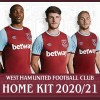 West Ham United 2020 2021 Umbro Home Football Kit, 2020-21 Soccer Jersey, 2020/21 Shirt
