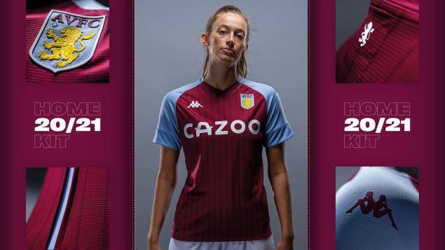 Aston Villa 2020 2021 Kappa Home Football Kit, 2020-21 Soccer Jersey, 2020/21 Shirt