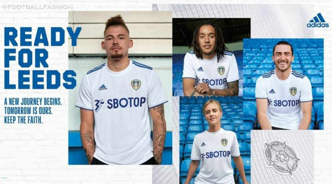 Leeds United 2020 2021 adidas Home Football Kit, 2020/21 Soccer Jersey, 2020-21 Shirt, Camiseta de Futbol, Trikot, Maillot
