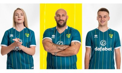Norwich City 2020 2021 Errea Away Football Kit, 2020/21 Soccer Jersey. 2020-21 Shirt