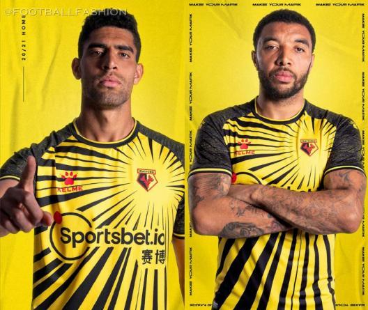 Watford 2020 2021 Kelme Home Kit, 2020-21 Football Kit, 2020/21 Soccer Jersey
