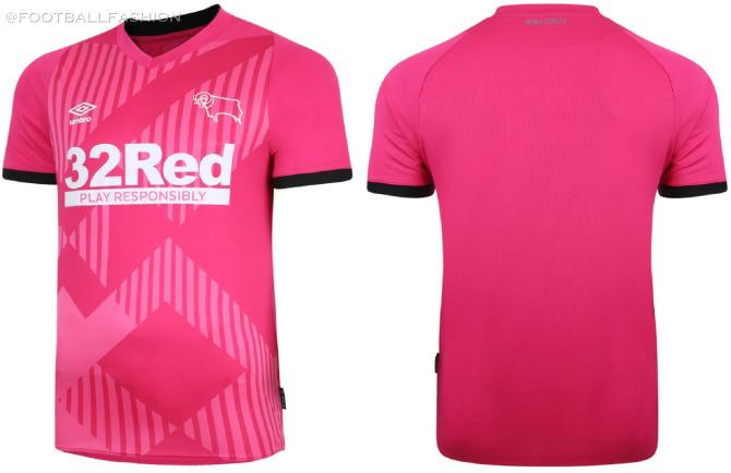 Derby County 2020 2021 Pink Umbro Third Football Kit, 2020-21 Soccer Jersey, 2020/21 Shirt