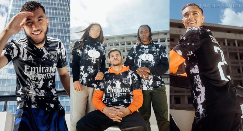 Olympique Lyon 2021 2022 adidas Black Third Football Kit, 2021-22 Soccer Jersey, 2021/22 Shirt, Camisa 21/22, Maillot 21-22