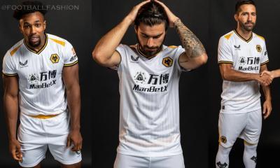 Wolverhampton Wanderers 2021 2022 Castore White Third Football Kit, 2021-22 Shirt, 2021/22 Soccer Jersey, Camisa 21-22, Camiseta 21/22