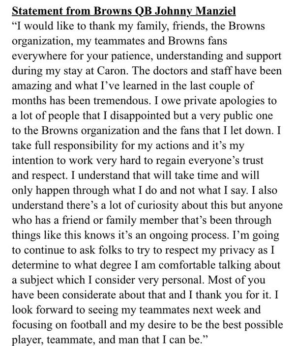 Manziel Statement