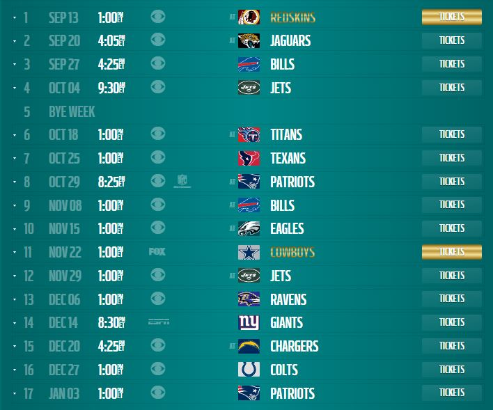Miami Dolphins 2015 Schedule