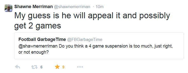 Shawne Merriman Tweet re Brady