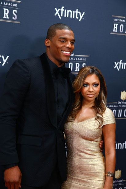 Cam Newton at the NFL Honors in February 2014 with his girlfriend Hazel aka Kia.