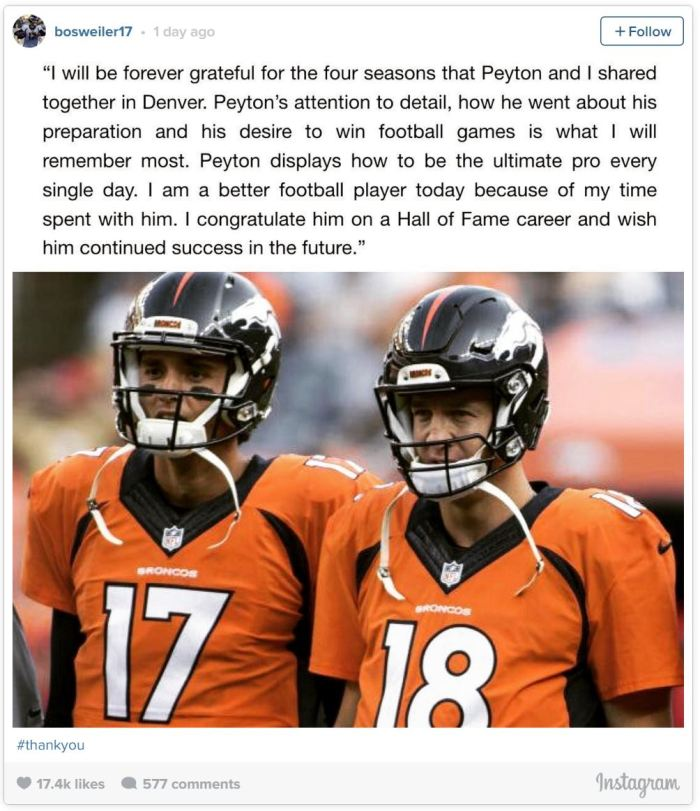 Brock Osweiler Instagram re Peyton Manning