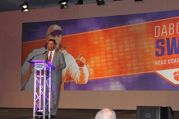 Dabo Swinney, photo credit Brandon Odoi at ACC Media Day 2016