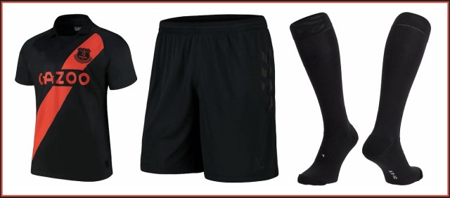 Everton FC's Hummel full away kit in black and burnt orange, with Everton away football shirt, shorts and socks for Premier League season 2021/2022, sponsored by Cazoo (Image copyright: Everton Football Club)