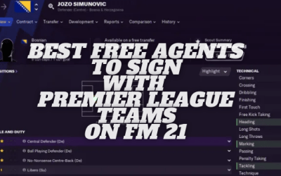 Best Free Agents for Premier League Teams on Football Manager 21