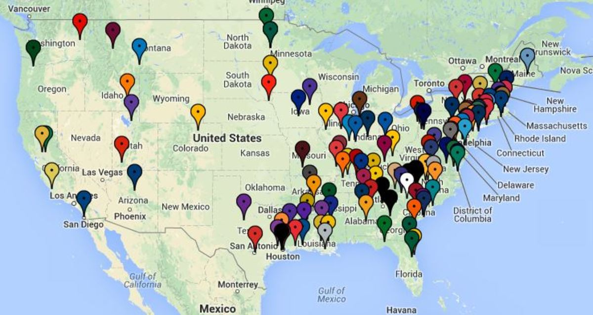 Interactive Map Shows Every Program In America That Plays NCAA - Map showing d3 schools in the us