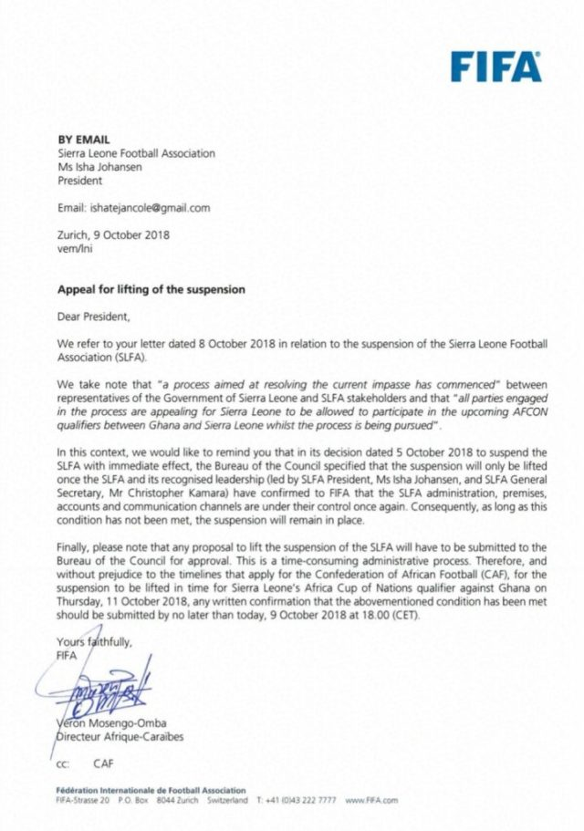 """Breaking: FIFA snubs Sierra Leone's appeal as suspension continues."""