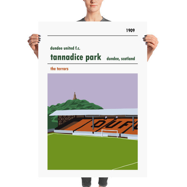 A huge football poster of Tannadice, the Shed, home to Dundee United FC. The terrors.