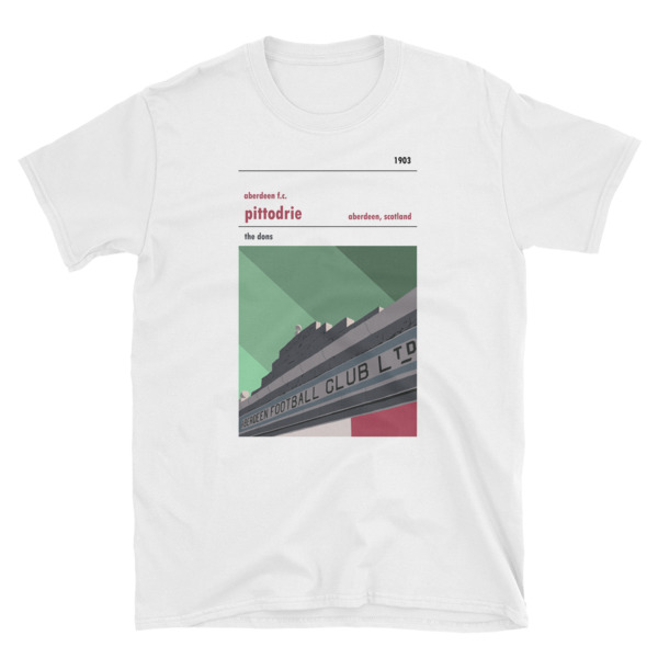 A t shirt of the Merkland Road entrance at Pittodrie. Home to the Dons, Aberdeen FC