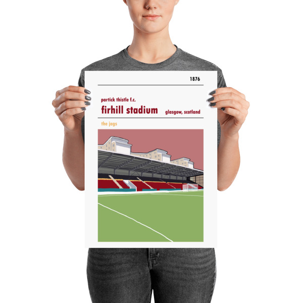 A medium sized football poster of Firhill and the John Lambie Stand. Partick Thistle