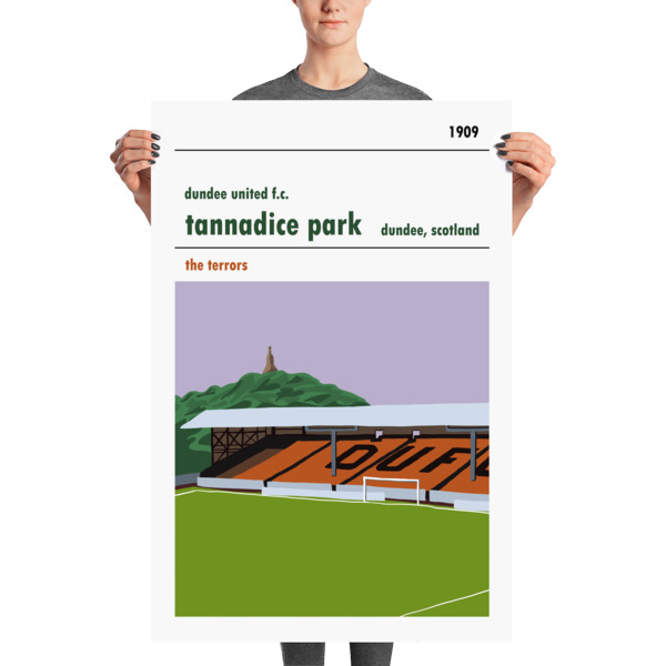A large football poster of Dundee United and Tannadice, showing the Shed end. Terrors.
