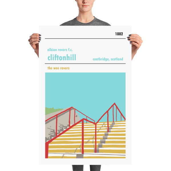A stadium print poster of Albion Rovers FC and their home ground of Cliftonhill. The Wee Rovers. Huge