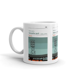 A coffee mug showing the floodlights above the Jerry Kerr stand at Tannadice, home to Dundee United.