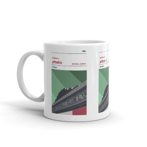 A coffee mug of the Merkland Road entrance to Pittodrie, home to Aberdeen FC