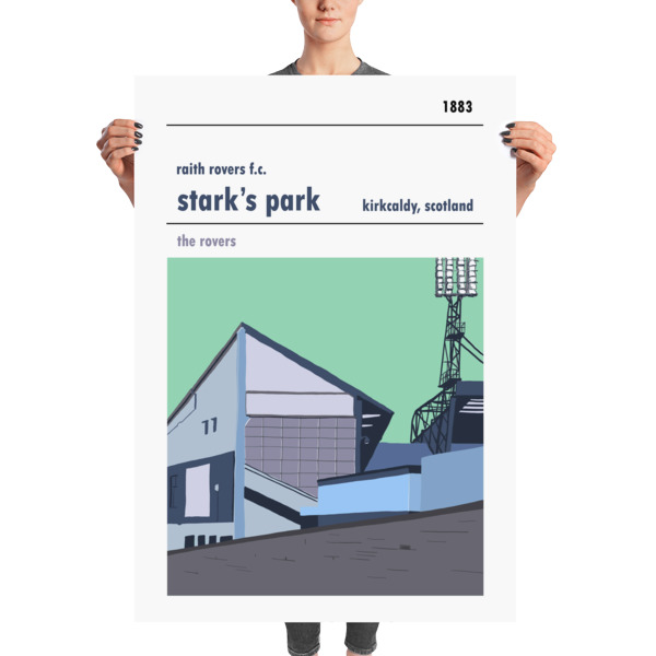 A massive football poster of Stark's Park and Raith Rovers FC