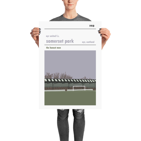 A large football poster of Somerset Park, home of Ayr United FC
