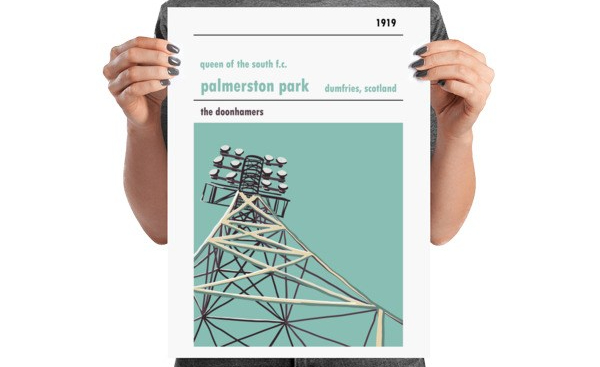A medium football poster of Palmerston Park and Queen of the South FC